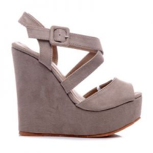 LONDON Styl WEDGES Zamsz